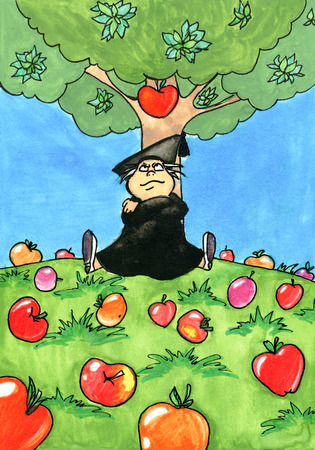 Isaac Newton sitting under an Apple tree. Illustration Stock Photo