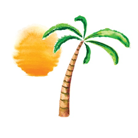 Watercolor palm tree and sun. Vector logo illustration. Vector