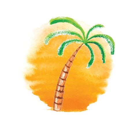 Watercolor palm tree against the sun. Vector logo illustration. Vector