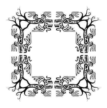 animalistic: Black corners elements with dragons, vector illustration Illustration