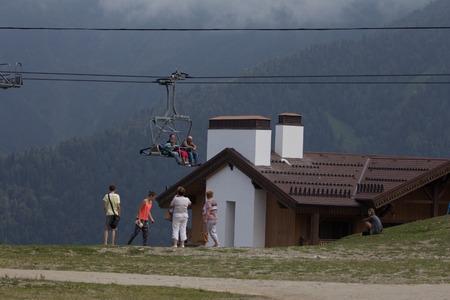 SOCHI, RUSSIA � JULY 23, 2015: Tourists on the ski lift, mountain resort Rosa Khutor (Krasnaya Polyana)