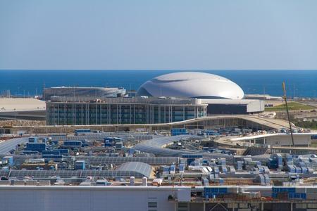 fisht: SOCHI, RUSSIA - JULY 26, 2013: Construction of the olympic stadium in Sochi Editorial