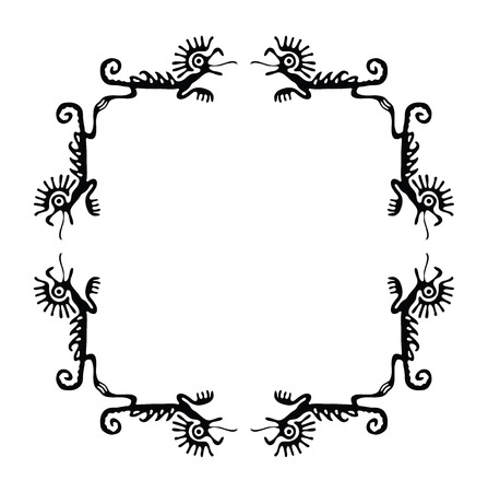 animalistic: Black corners elements with dragons or lizards, vector illustration
