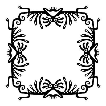 animalistic: Black  frame, design element with dragons or monsters, vector illustration