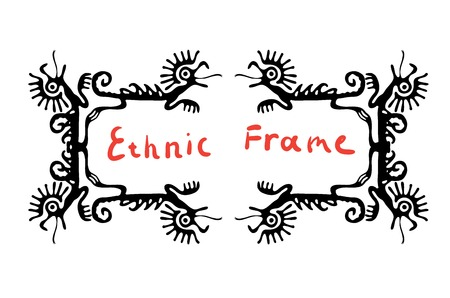 animalistic: Black frame element with dragons or lizards, vector illustration