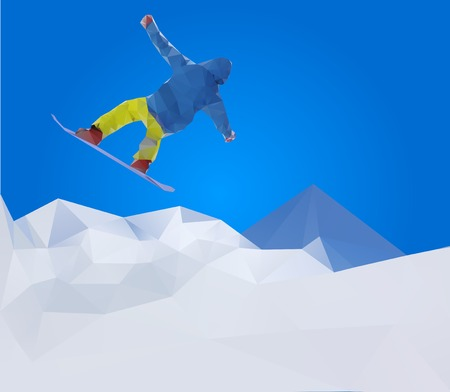 flying snowboarder on mountains, vector illustration Vector