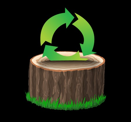 tree cross section: Cross section of tree stump with recycle symbol, concept vector illustration, isolated on black background Illustration