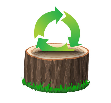 cross section of tree: Cross section of tree stump with recycle symbol, concept vector illustration, isolated on black background Illustration