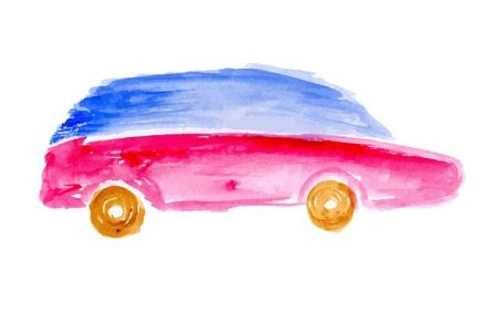 childs: Childs drawing car. Watercolor vector illustration.