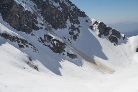 avalanche: Small avalanche ski resort Krasnaya Polyana, Sochi, Russia Stock Photo