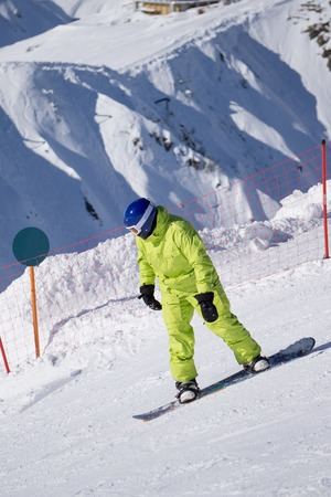 slope: Snowboarder on the mountain slope, extreme sport