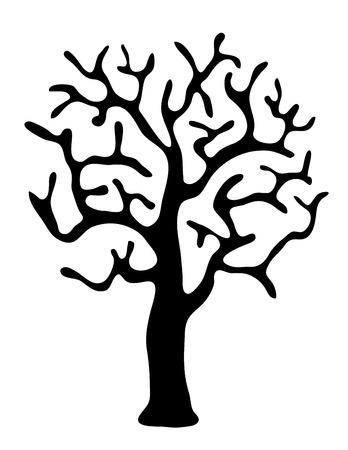 arboles secos: �rbol negro sin hojas sobre fondo blanco, ilustraci�n vectorial