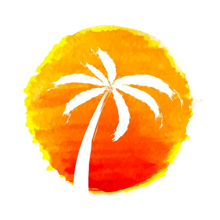 Silhouette of palm trees against the sun. Vector icon illustration. Vector