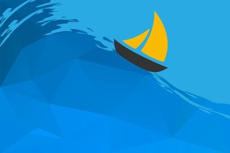 3d sail boat: Seascape with boat, vector illustration Illustration
