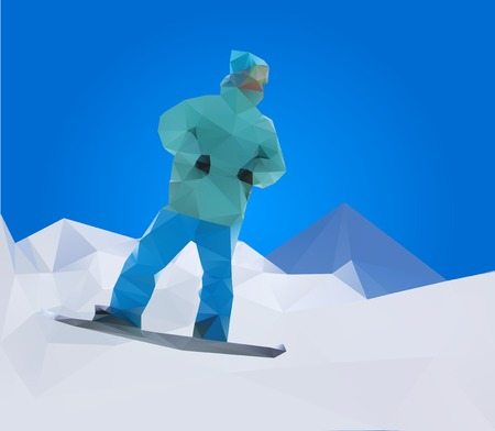 snowboarder on mountains, vector illustration Vector