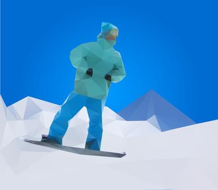 snowboarder: snowboarder on mountains, vector illustration