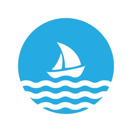 Sailing boat on the water, vector logo Illustration
