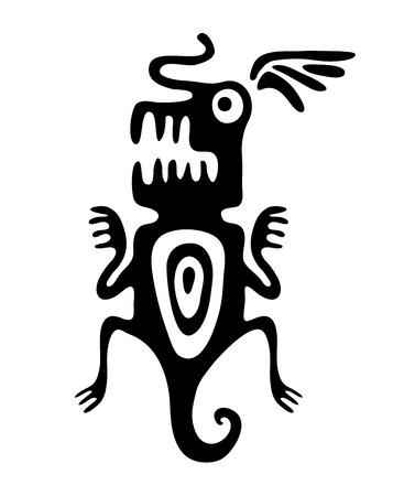 encephalitis: black mite or beetle in native style, vector illustration Illustration