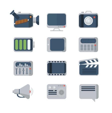 Media Icons set, flat style Vector