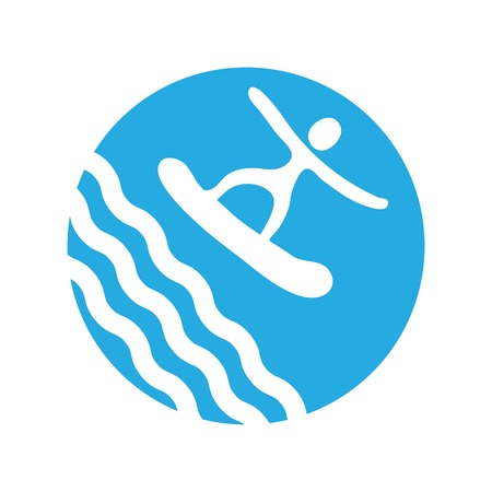 water sport: surf, water sport,  vector icon Illustration