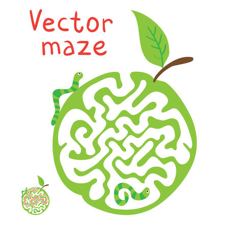 pathfinder: Vector Maze, Labyrinth education Game for Children with ?aterpillar and Apple. Illustration