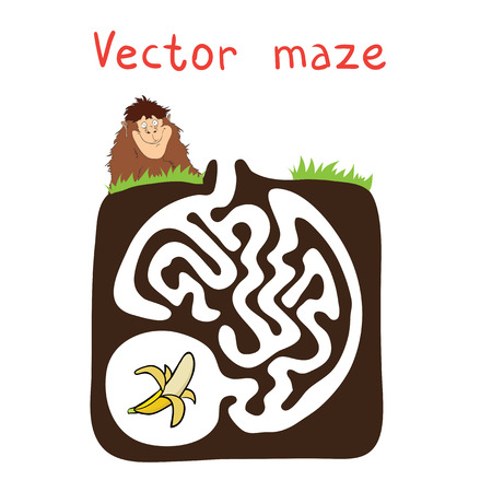 pathfinder: Vector Maze, Labyrinth education Game for Children with Monkey and Banana. Illustration