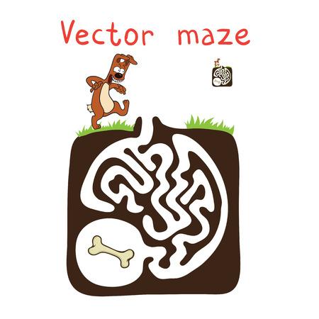 pawl: Vector Maze, gioco educativo Labirinto per i bambini con cane e ossa. Vettoriali