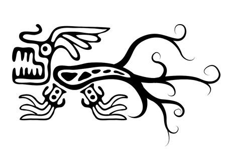 Black lizard or dragon in native style, vector illustration Vector