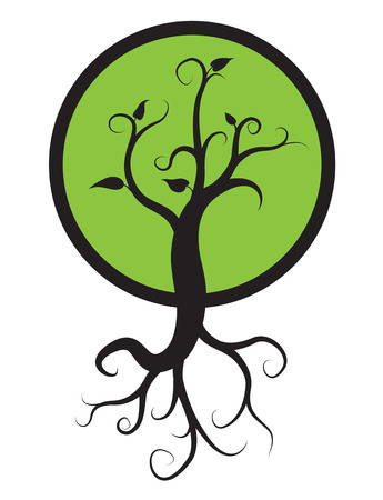 arbol raices: árbol negro con raíces aisladas sobre fondo blanco, vector