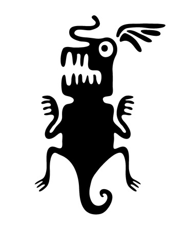 quetzalcoatl: Black lizard or dragon in native style, vector illustration