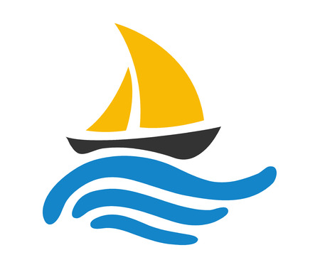 Sailing boat on the water, vector  icon Illustration