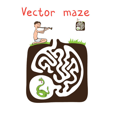 charmer: Vector Maze, Labyrinth education Game for Children with Snake and Fakir