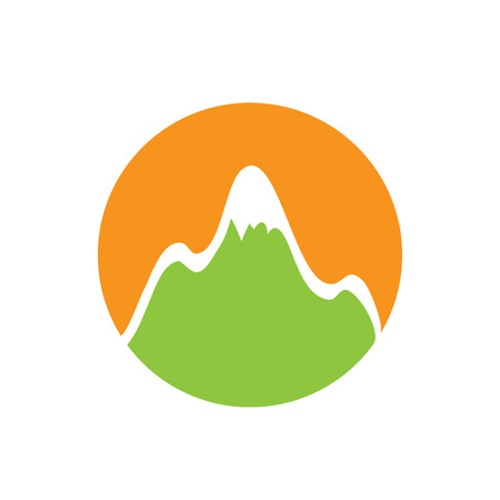 snowcapped mountain: green snow-capped mountain, vector  illustration