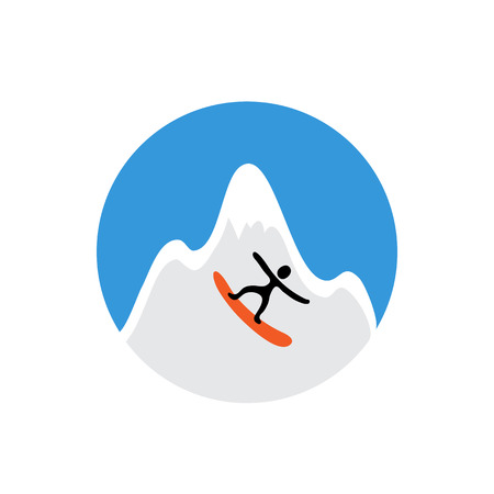 freeride: freeride, snowboarder and snowy mountain , vector  illustration