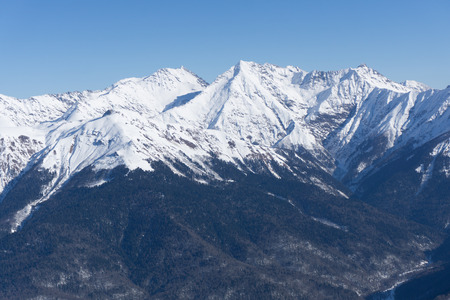 ski walking: Mountain landscape of Krasnaya Polyana, Sochi, Russia