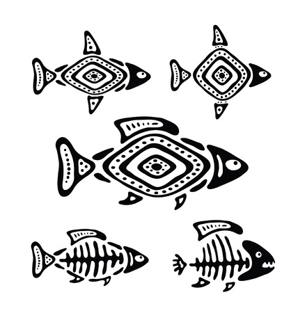 river rock: black fish in the native style, vector illustration