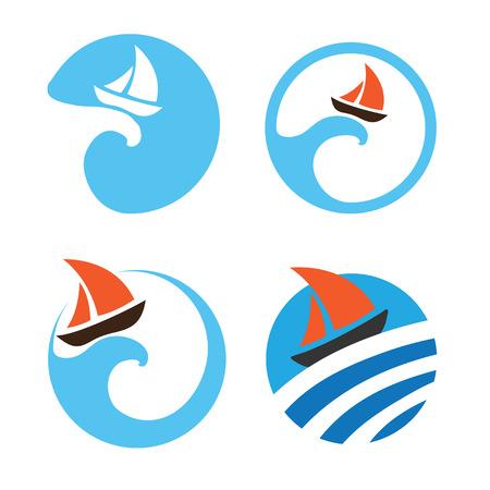yachts: Yachts and sailing boats, regata. Set of vector