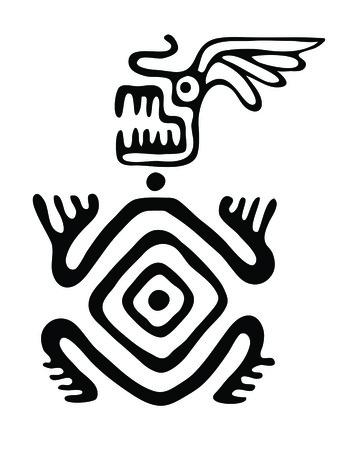 nonexistent: black monster in native style, vector illustration Illustration