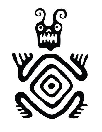 dragon tattoo design: black monster in native style, vector illustration Illustration