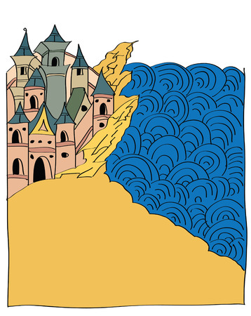 chronicle: ancient castle on the beach, illustration