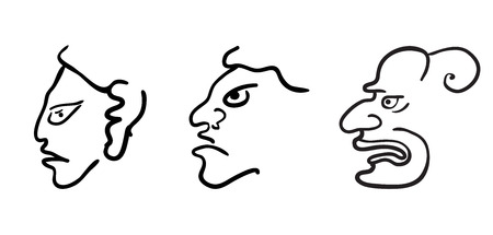 Faces in style of Maya Indians, vector illustration on white background