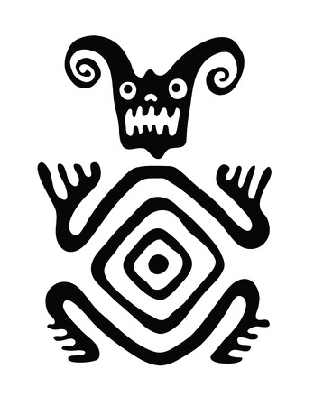 nonexistent: black monster in native style, vector illustration Illustration