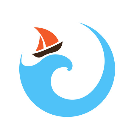 Sailing boat on the water, vector  Illustration