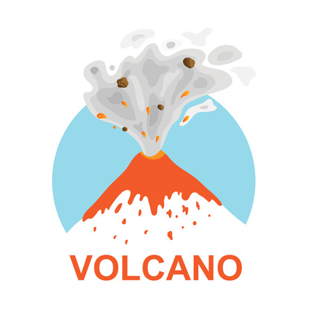ash cloud: eruption of a volcano, vector  illustration