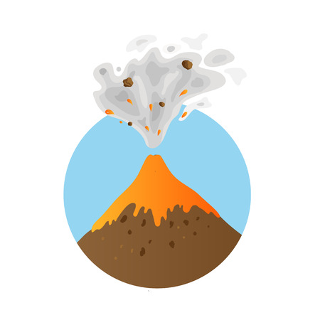 eruption: eruption of a volcano, vector  illustration