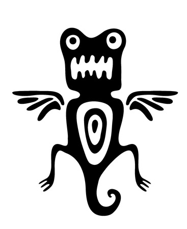 mite: black mite or beetle in native style, vector illustration Illustration