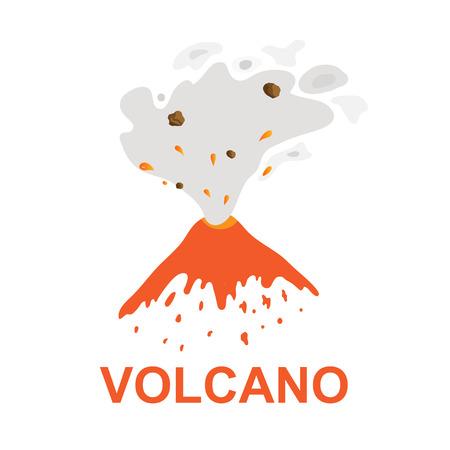 eruption: eruption of a volcano, vector icon illustration