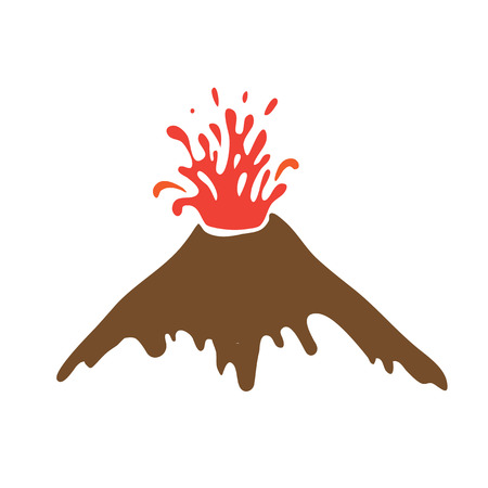 eruption: eruption of a volcano, vector logo illustration Illustration