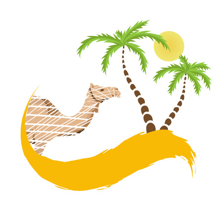 cartoon camel: Camel and palm tree in the desert, vector illustration Illustration