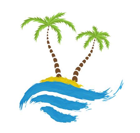 paradisiacal: Tropical palm on island with sea. Vector logo. Illustration